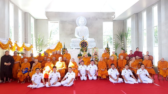 Sattahip's Naval Rating School formally installed its seated Buddha during a ceremony with 32 famous monks.