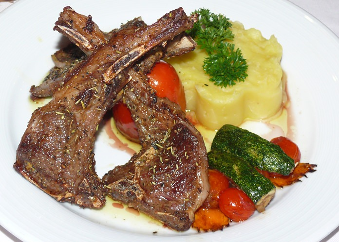 A hefty plate of lamb chops.