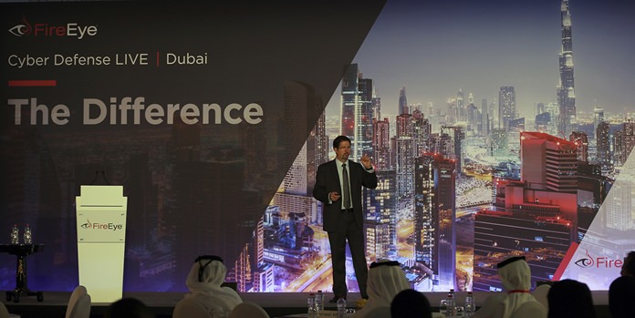 Tony Cole, Vice President of FireEye Inc., a cybersecurity firm headquartered in Milpitas, California, speaks at the FireEye Cyber Defence Live conference, Tuesday, Sept. 12, 2017, in Dubai, United Arab Emirates. (AP Photo/Kamran Jebreili)