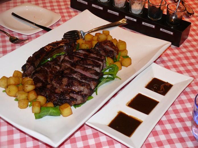 An enormous Wagyu steak.