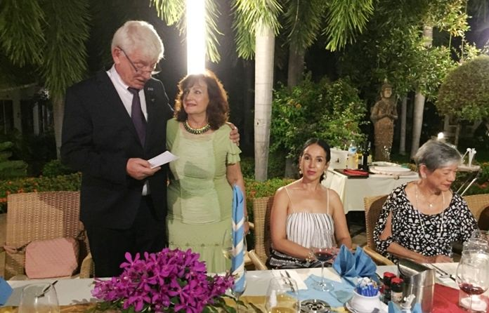 Elfi is mesmerized by Juergen Koppelin's speech.