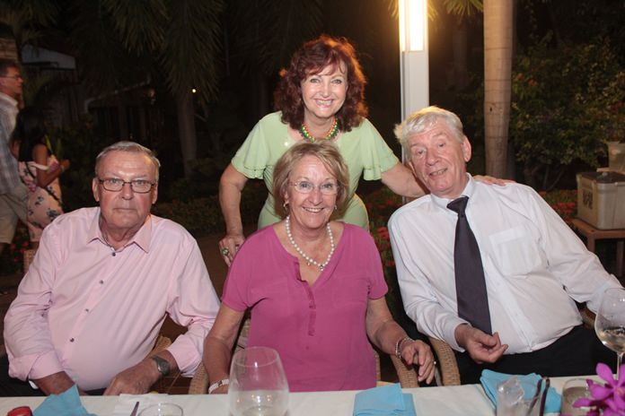Elfi poses with Eberhard and Monika Podleska and Juergen Koppelin.