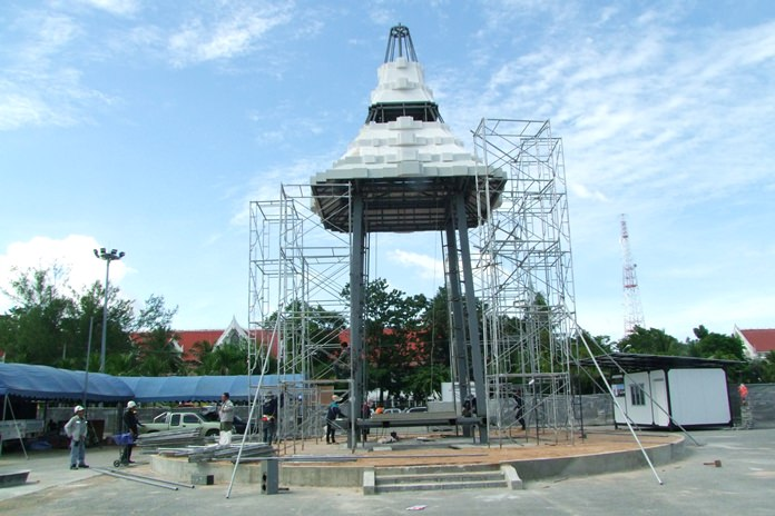 Chonburi's scale reproduction of the royal funeral pyre is more than half done and on schedule for completion before the cremation of HM King Rama IX.