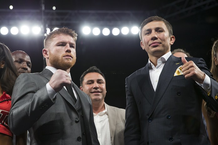 Canelo Alvarez, left, and Gennady Golovkin, right, will meet in the ring in Las Vegas Saturday night, Sept. 16, in a highly anticipated middleweight title clash. (Erik Verduzco/Las Vegas Review-Journal via AP, File)