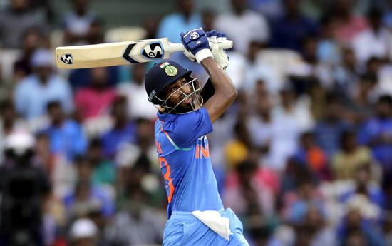 Indian cricket player Hardik Pandya bats during the first one-day international against Australia in Chennai, India, Sunday, Sept. 17. (AP Photo/Rajanish Kakade)