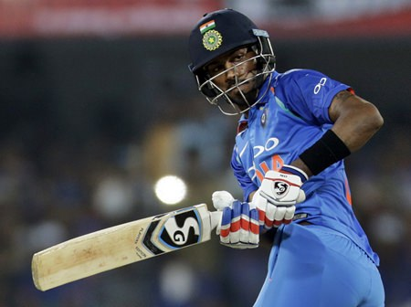 India's Hardik Pandya bats during the third one-day international cricket match between India and Australia in Indore, India, Sunday, Sept. 24. (AP Photo/Rajanish Kakade)