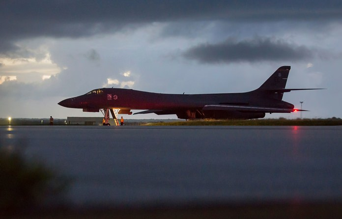 A U.S. Air Force B-1B Lancer, assigned to the 37th Expeditionary Bomb Squadron, prepares to take off from Andersen AFB, Guam, on Saturday, Sept. 23. (Staff Sgt. Joshua Smoot/U.S. Air Force via AP)