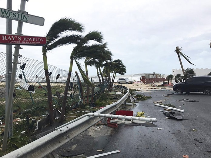 This Sept. 6, 2017 photo shows storm damage in the aftermath of Hurricane Irma, in St. Martin.(Jonathan Falwell via AP)