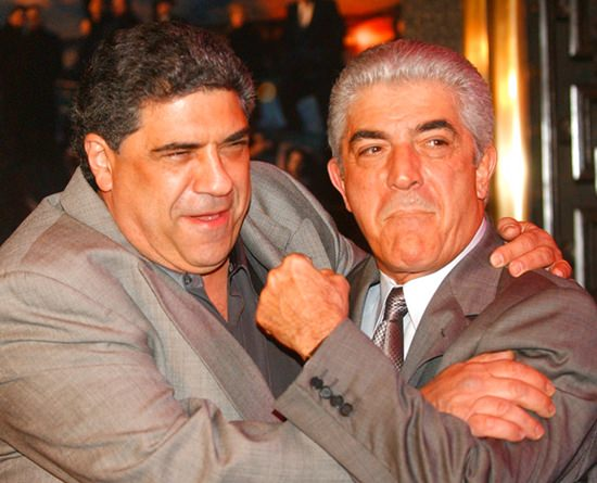 "Actors Vincent Pastore, left, and Frank Vincent rough around for photographers at the fifth season premiere of the HBO series ""The Sopranos,"" at New York's Radio City Music Hall. (AP Photo/Frank Franklin II, File)"