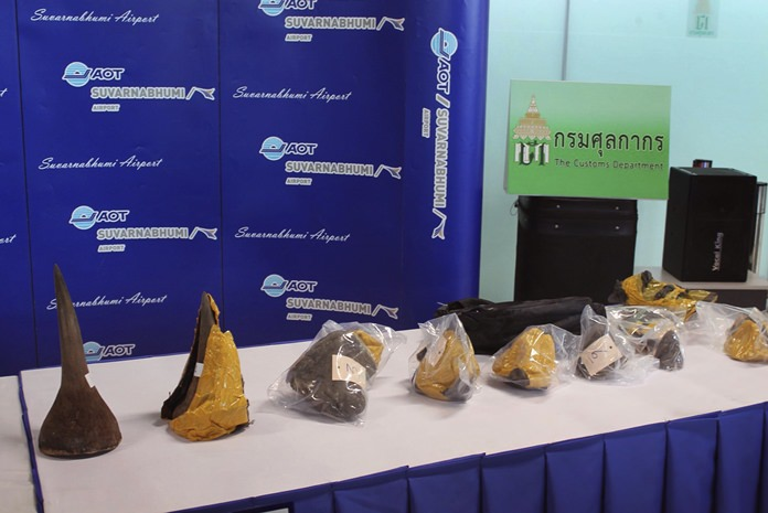 A collection of seized rhino horns are shown on display in Bangkok, Wednesday, Oct. 11. (Royal Thai Customs via AP)