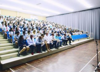GIS's main hall was packed with students from three schools for the Careers' Day.