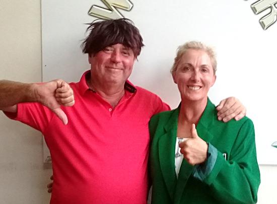 Veronique Morgan (right) with Bob Watson.