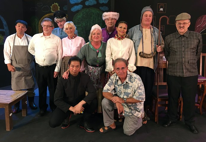 "Pattaya Players cast members in ""Fools"", (from left, back row) Paul Strachan, Bob Smith, Andrew Murphy, Wendy Khan, Jayne Jouai, Doug Campbell, Luz Welsman, Gary Sharpe, Charles Elwin, (front kneeling) Truck Leveriza and director Sheldon Penner."