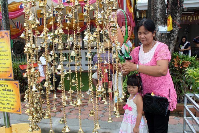 Golden bells hang beautifully at local temples.