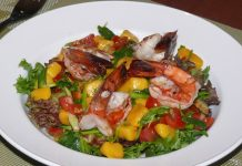 A colorful Tiger prawn salad.