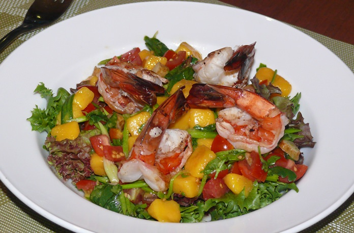 A colorful Tiger prawn salad.