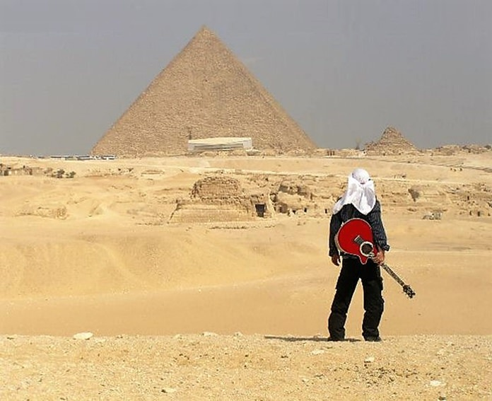 Les Deshane showed this photo during his presentation which he noted was taken during his travels; this trip to Egypt and trekking by camel to view the pyramids.