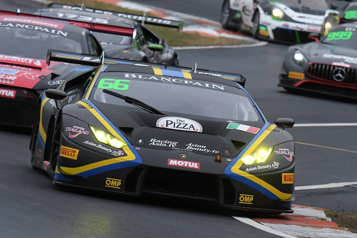 Local racer Sandy Stuvik drives his Lamborghini Huracan GT3 at the Zhejiang Circuit, outside Shaoxing in Zhejiang province, China, Sunday, Oct. 15.