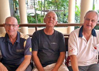 B Flight top three: Brian Gabe, Mick Coghlan and Nigel Perry.