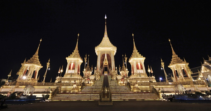 The Royal Crematorium is modeled after the imaginary Mount Sumeru, the center of the universe in Buddhist cosmology. In the ancient Thai kingdom, the concept of a divine king was firmly established and institutionalized, and it was influenced by Hinduism and deism. (AP Photo/Wason Wanichakorn)