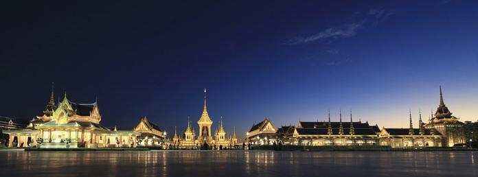 The warmly illuminated royal crematorium and funeral complex for the late Thai King Bhumibol Adulyadej. (AP Photo/Wason Wanichakorn)