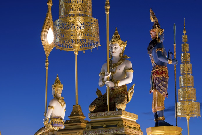 The magnificent Royal Crematorium is also decorated with eight standing celestial beings and 32 celestial beings in a kneeling position. (AP Photo/Kittinun Rodsupan)