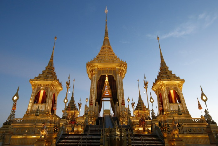 The Royal Crematorium comprises nine spire-roofed pavilions (busabok) rising from the base, which is formed in three levels. (AP Photo/Sakchai Lalit)