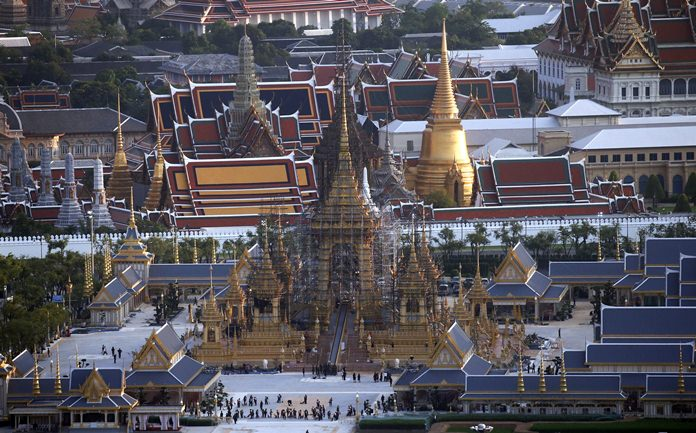 This Oct. 6, 2017, photo shows the royal crematorium and funeral complex for the late Thai King Bhumibol Adulyadej in Bangkok. (AP Photo/Sakchai Lalit)