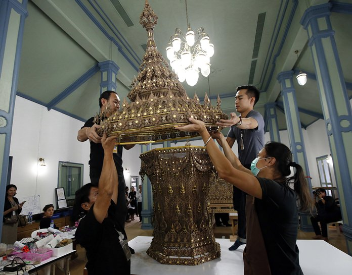 The royal urn made of sandalwood will be used in the royal crematorium during the elaborate royal cremation ceremony from Oct. 25 to 29 for the late Thai King Bhumibol Adulyadej. (AP Photo/Sakchai Lalit)