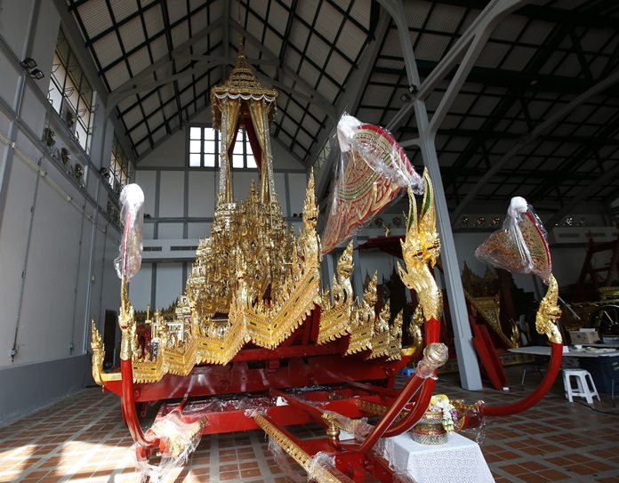 The royal chariot, which will be used to carry the body and the royal urn of the late Thai King Bhumibol Adulyadej, is displayed at the National Museum. (AP Photo/Sakchai Lalit)