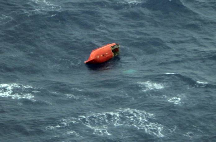 This photo shows a damaged lifeboat, which is believed to be off the Emerald Star near its sinking site, off the Philippines' eastern coast Friday, Oct. 13. (The 11th Regional Coast Guard Headquarters via AP)
