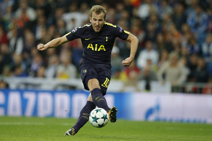 Tottenham's Harry Kane shoots on goal during the Group H Champions League match against Real Madrid at the Santiago Bernabeu stadium in Madrid, Tuesday Oct. 17. (AP Photo/Paul White)