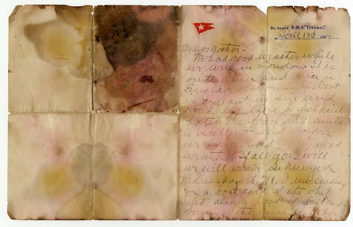 This undated photo shows a letter by Titanic passenger Alexander Holversson, written a day before the ship sank. (Henry Aldridge and Son Actioneers via AP)