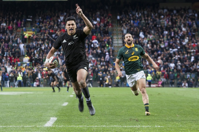 New Zealand's Rieko Ioane celebrates as he scores a try against South Africa during the Rugby Championship match at the Newlands Stadium in Cape Town, South Africa, Saturday, Oct. 7. (AP Photo/Halden Krog)