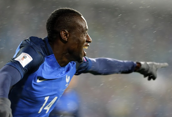 France's Blaise Matuidi celebrates his goal against Bulgaria during the World Cup Group A match in Sofia, Bulgaria, Saturday Oct. 7. (AP Photo)
