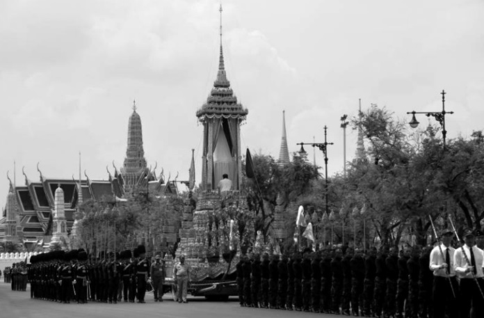 A rehearsal of the royal cremation procession is performed in Bangkok, Saturday, Oct. 7.