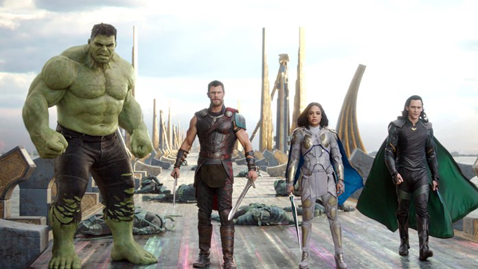 "This image shows (from left) the Hulk, Chris Hemsworth as Thor, Tessa Thompson as Valkyrie and Tom Hiddleston as Loki in a scene from ""Thor: Ragnarok."" (Marvel Studios via AP)"