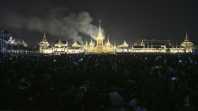 Smoke rises from the royal crematorium during the final cremation of HM the late King Bhumibol Adulyadej. (AP Photo/Wason Wanichakorn)