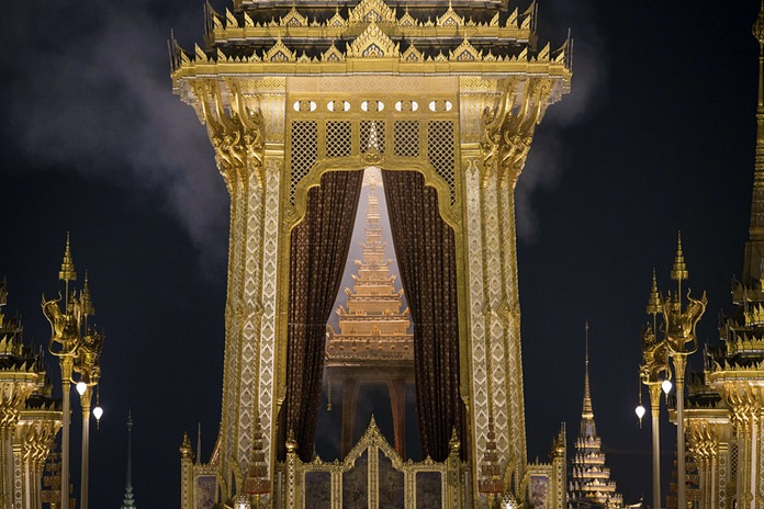 Smoke rises from the royal crematorium of the late King Bhumibol Adulyadej in Bangkok early Friday morning, Oct. 27, 2017. (AP Photo/Wason Wanichakorn)