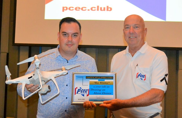 MC Roy Albiston presents Ray Whitley with the PCEC's Certificate of Appreciation for his very informative and interesting presentation about drone technology, which included a live demonstration.