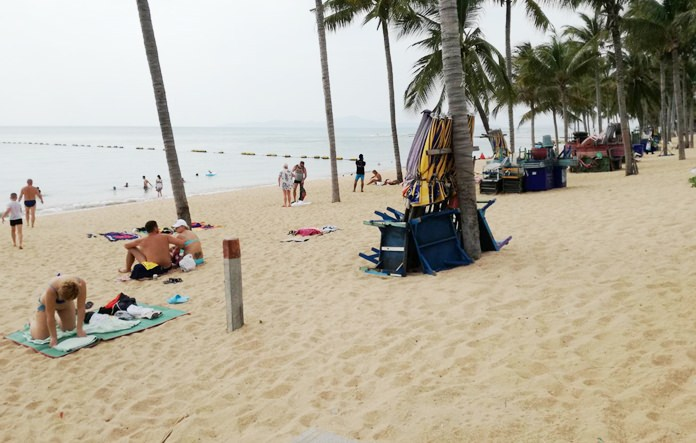 "Despite the assertions of chair and umbrella vendors, Jomtien Beach was buzzing with activity on ""no chair Wednesday""."