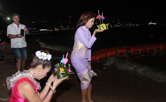 Loy Krathong with the belief of releasing bad things with the sea.