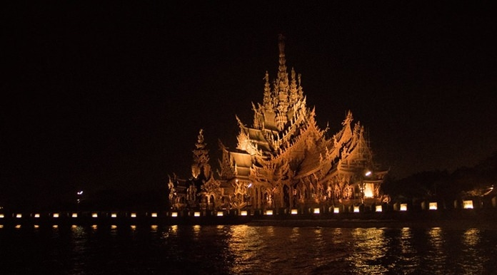 Pattaya's Sanctuary of Truth will open in the evenings this month to give international fleet show visitors time to see the classic wooden temple.
