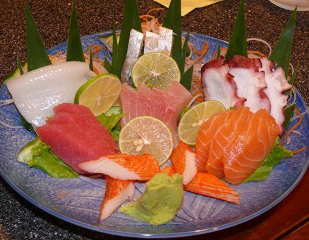 Yamato's mixed sashimi plate which had octopus, salmon, tuna, crab sticks, sea bass, squid and mackerel.