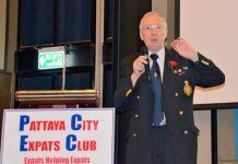 Andy Barraclough, Chairman of the British Legion Chonburi branch, reminds his PCEC audience that the Poppy Appeal for Remembrance Day is still needed.