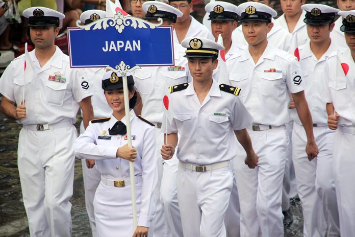 Sailors from the Japanese Navy march tall and proud.