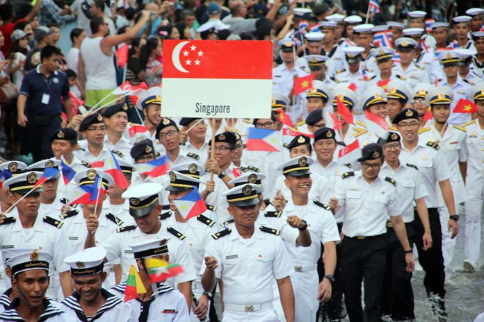The Singapore Navy proudly marches on through the floodwaters.
