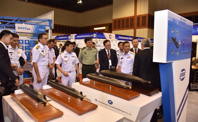 Models of advanced submarines were on display at the Dusit Thani Hotel.