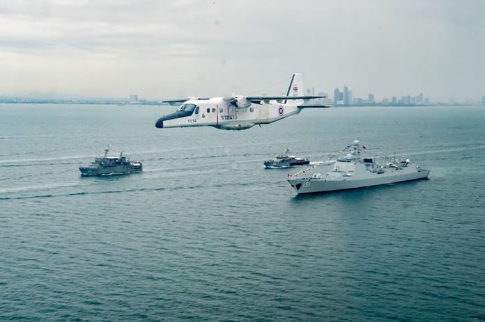 On the water, boats moved in formation, helicopters flew and sailors put on 45-minute-long rescue and fire drills.