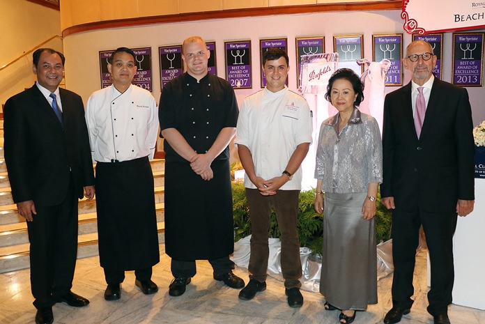 Mrs. Panga Vathanakul, MD of the Royal Cliff Hotels Group (2nd right), together with General Manager Prem Calais (left) and Ron Bartori (right) congratulate Pastry Chef Warawuth Siriwongse, (2nd left) and Chef De Cuisine Myroslav Pasechnyi, (3rd right) at the conclusion of the superb dining experience.